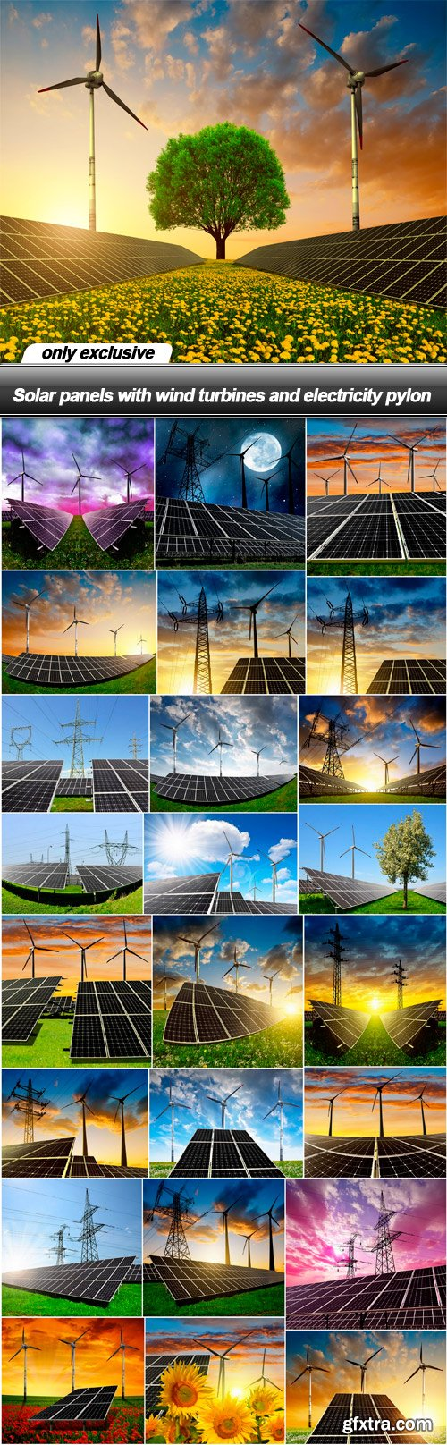 Solar panels with wind turbines and electricity pylon - 25 UHQ JPEG