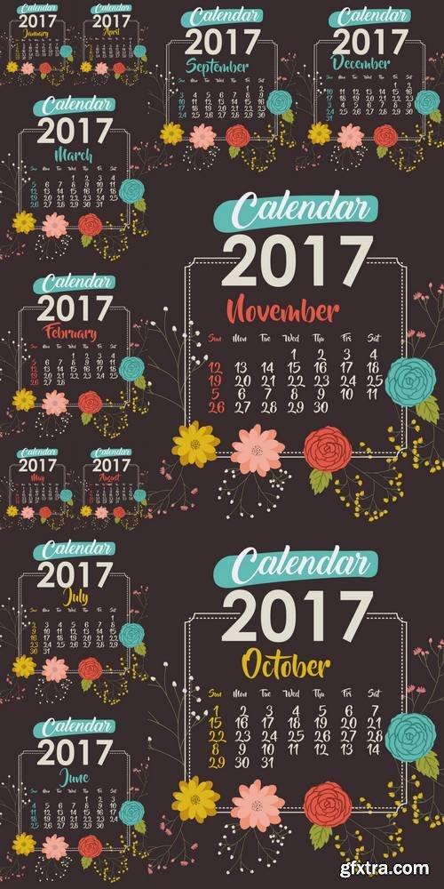2017 Calendar with Flowers