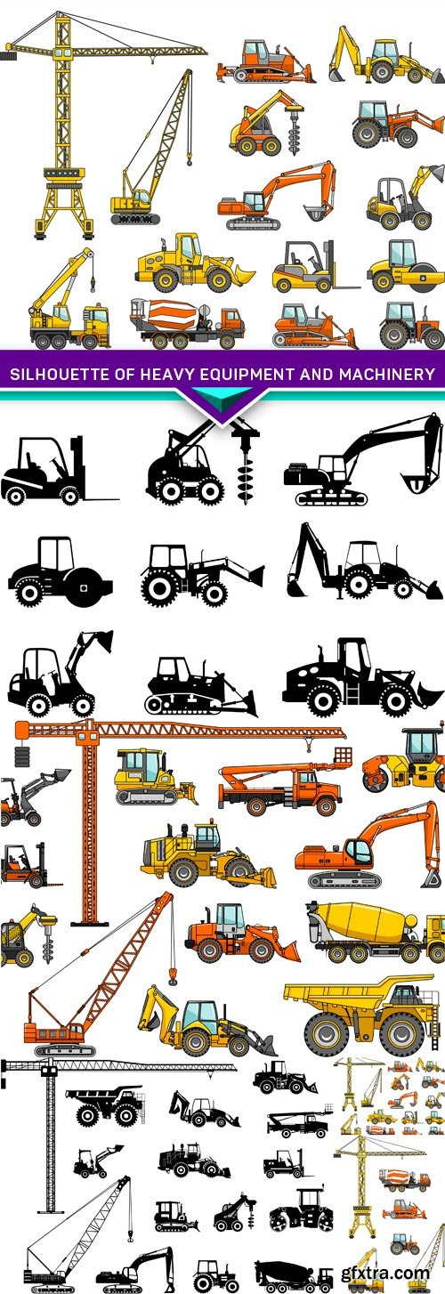 Silhouette illustration of heavy equipment and machinery 5X EPS