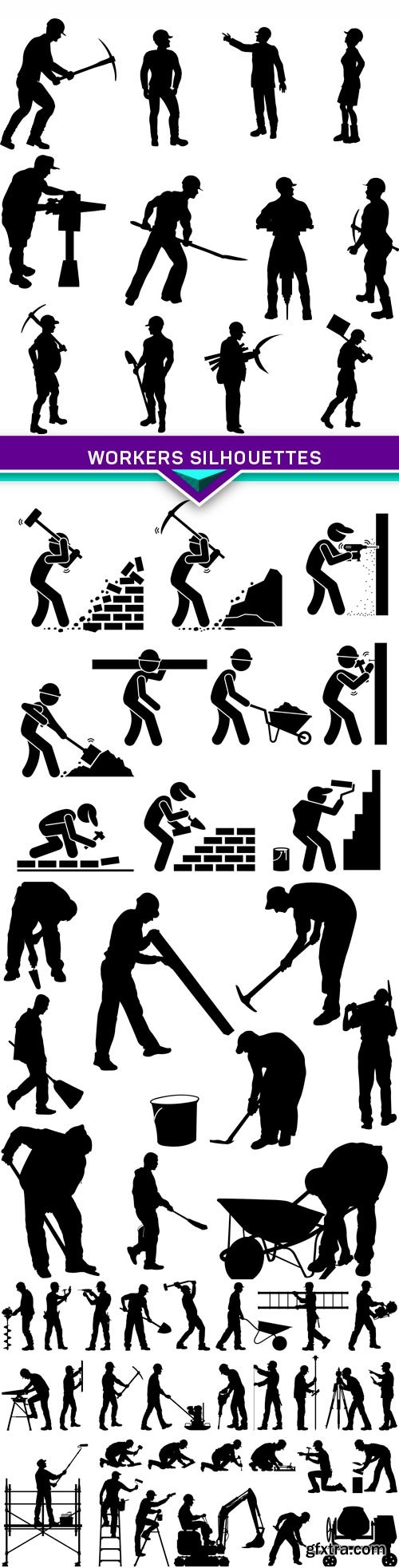 Workers silhouettes 4X EPS