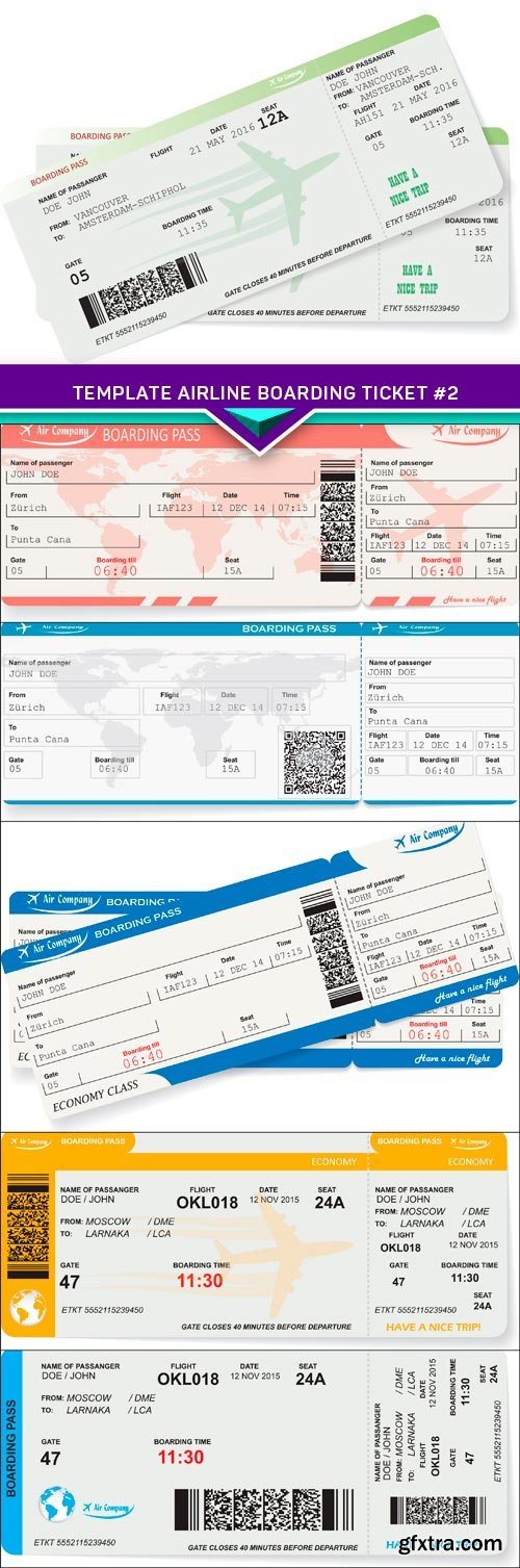 Travel concept, template airline boarding ticket #2 6X EPS
