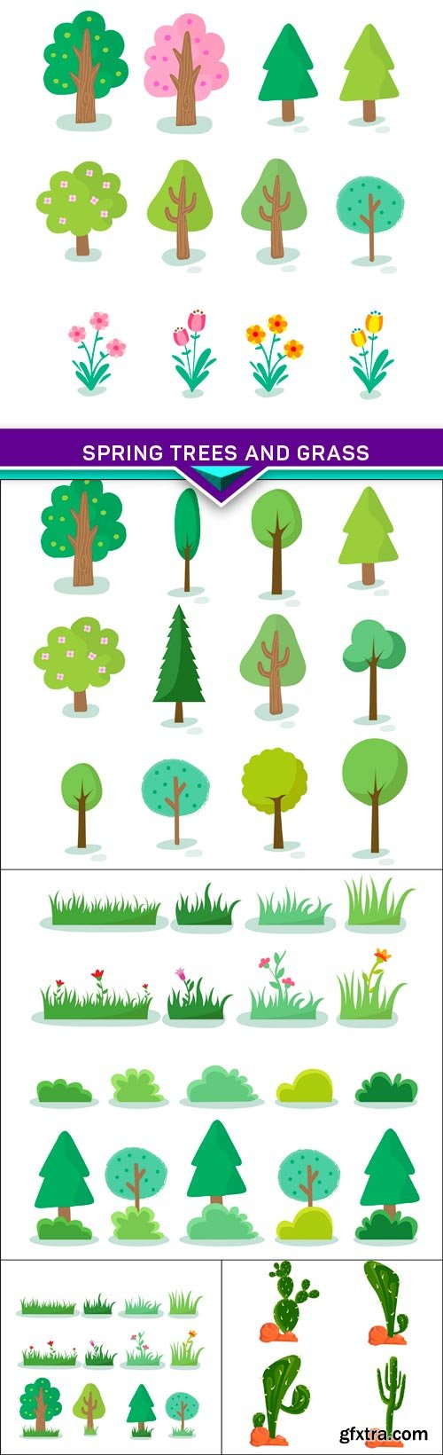 Spring trees and grass 5X EPS