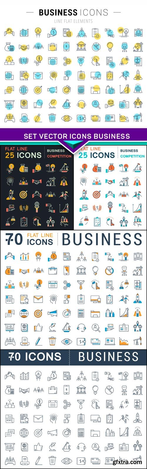 Set Vector Icons Business 5X EPS