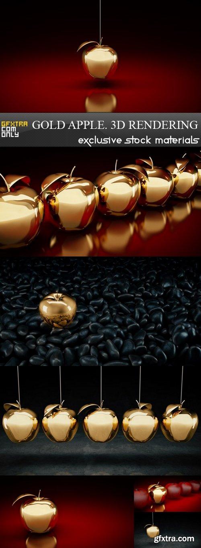 Gold Apple. 3D Rendering - 7 UHQ JPEG