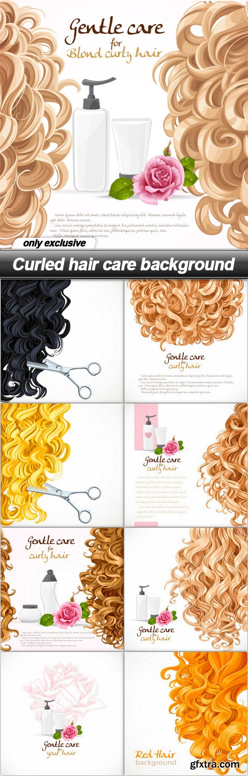 Curled hair care background - 9 EPS