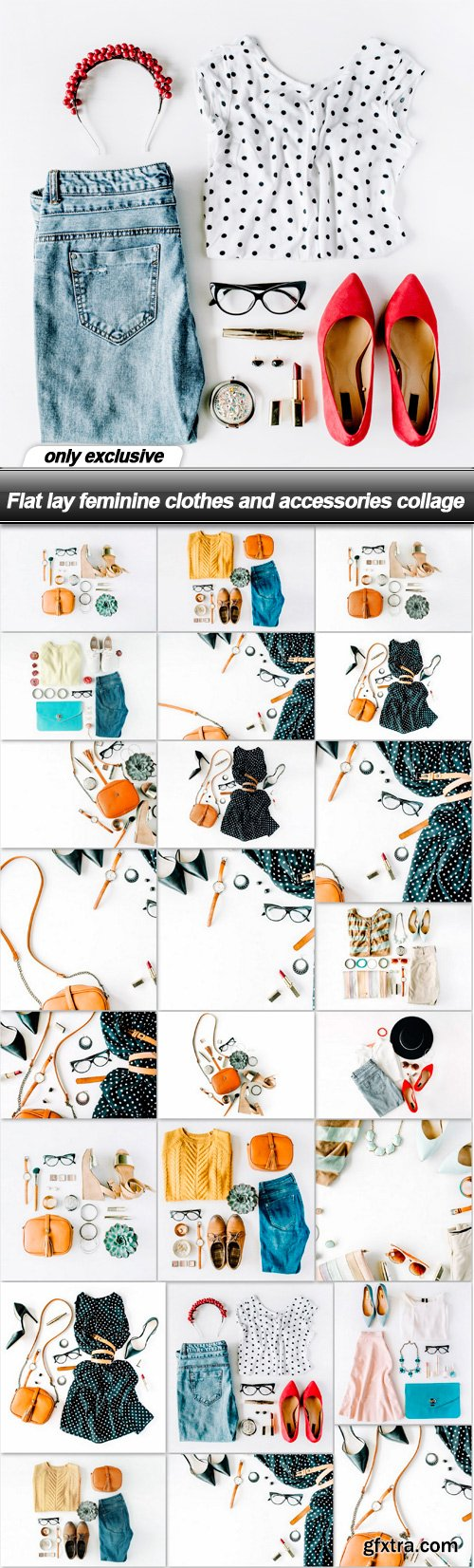 Flat lay feminine clothes and accessories collage - 24 UHQ JPEG