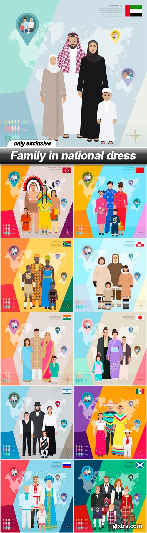 Family in national dress - 11 EPS