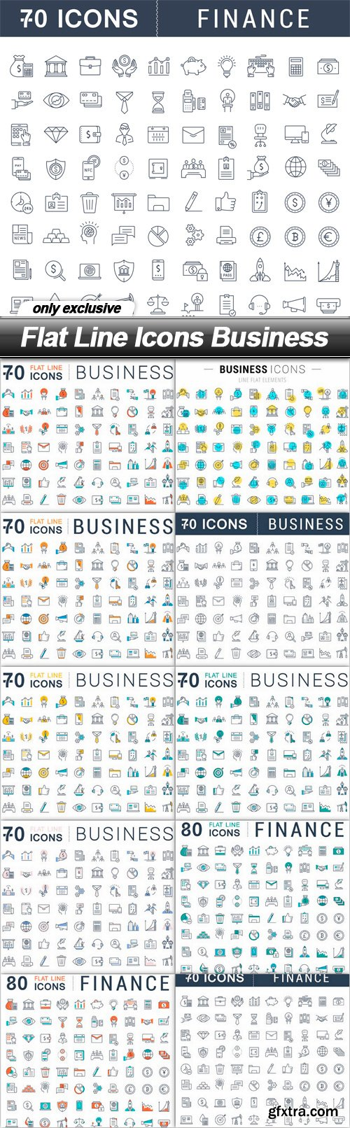 Flat Line Icons Business - 10 EPS