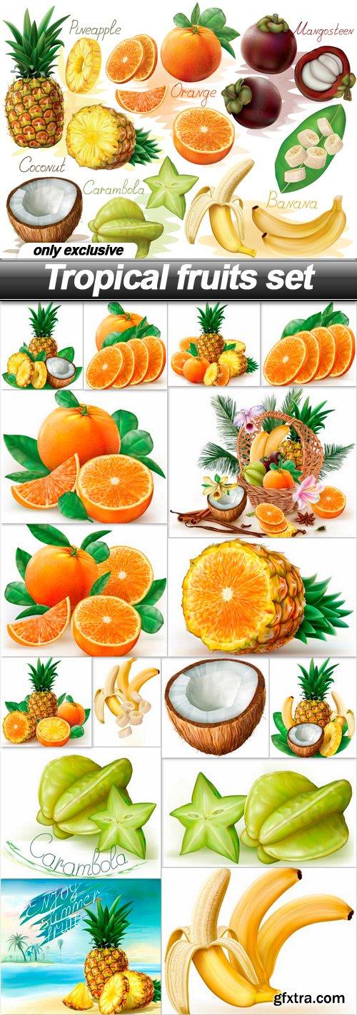 Tropical fruits set - 17 EPS