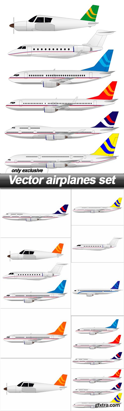 Vector airplanes set - 10 EPS