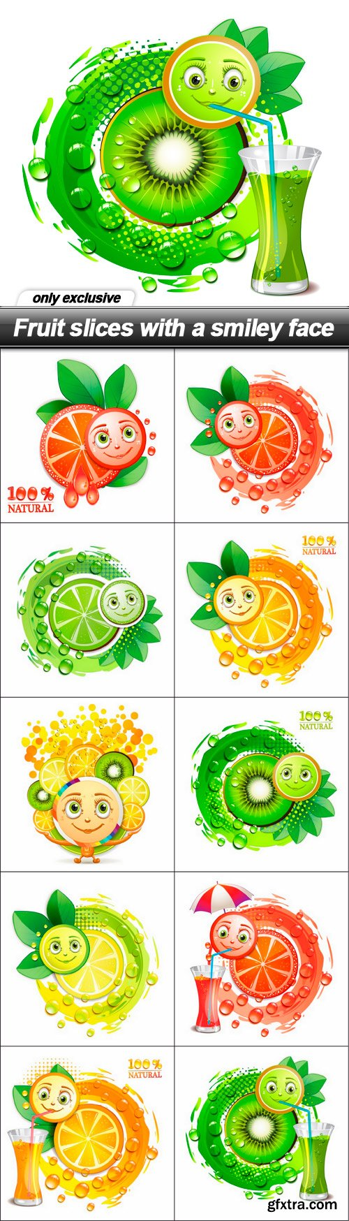 Fruit slices with a smiley face - 10 EPS
