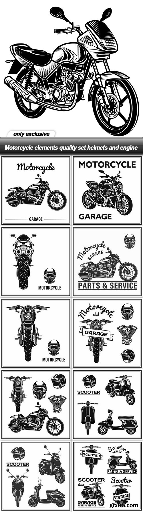 Motorcycle elements quality set helmets and engine - 11 EPS