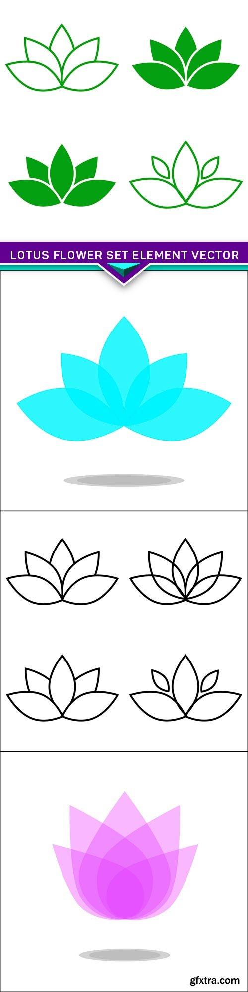 Lotus flower set element vector 4X EPS