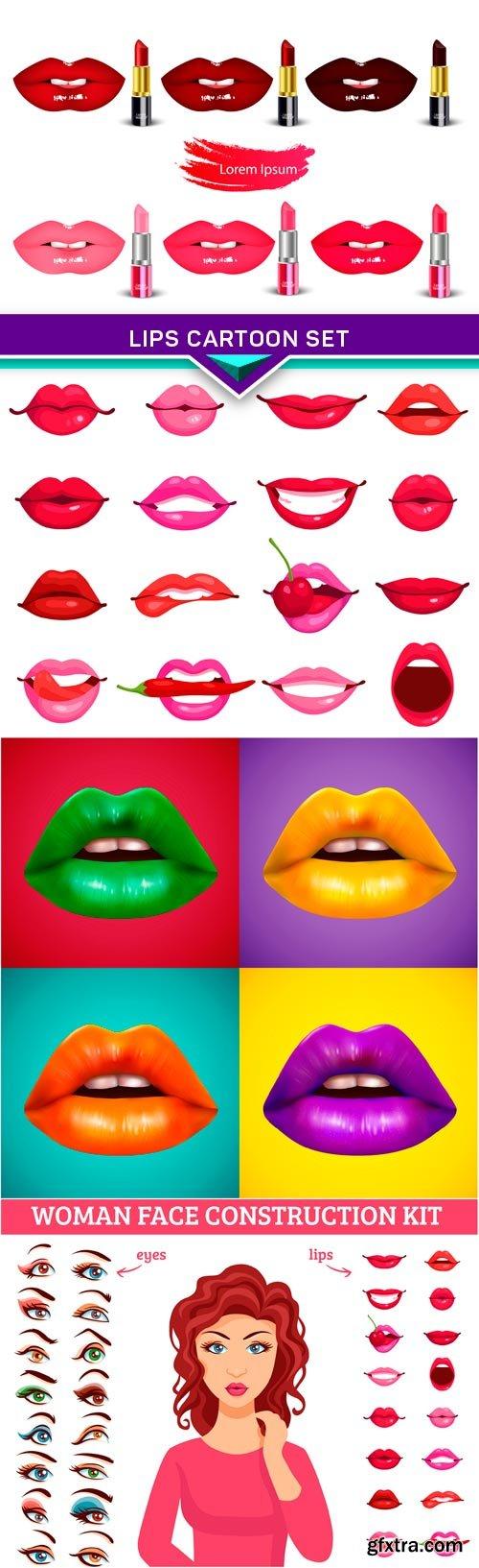 Lips Cartoon Set 4X EPS