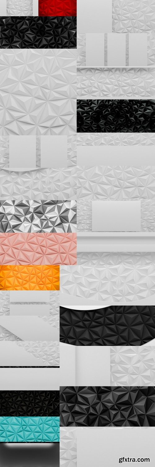 Abstract white low poly background with copy space 3d render