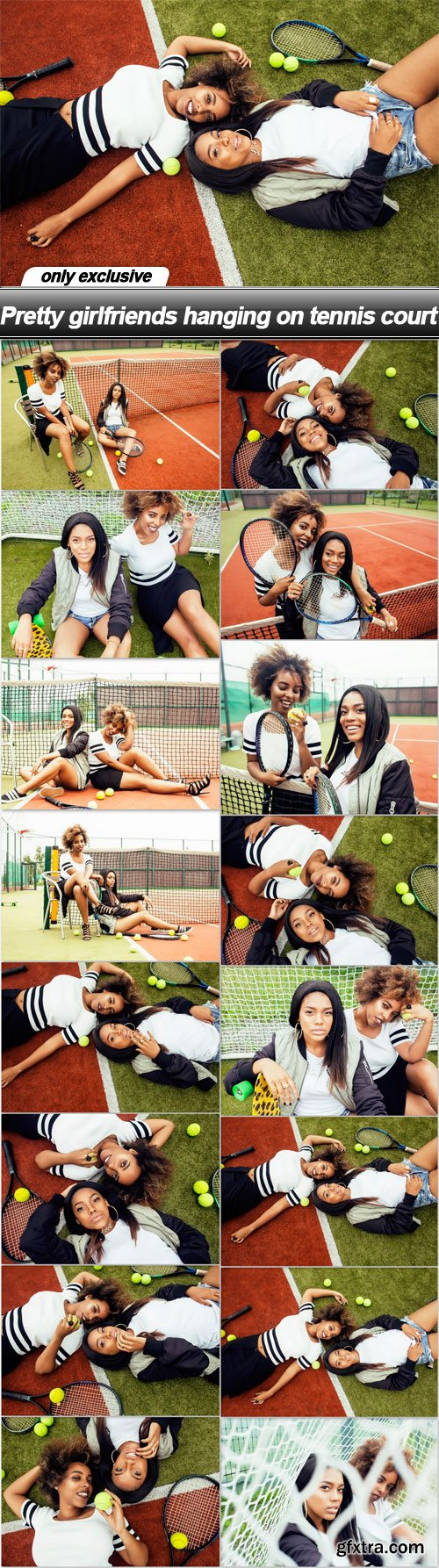 Pretty girlfriends hanging on tennis court - 16 UHQ JPEG