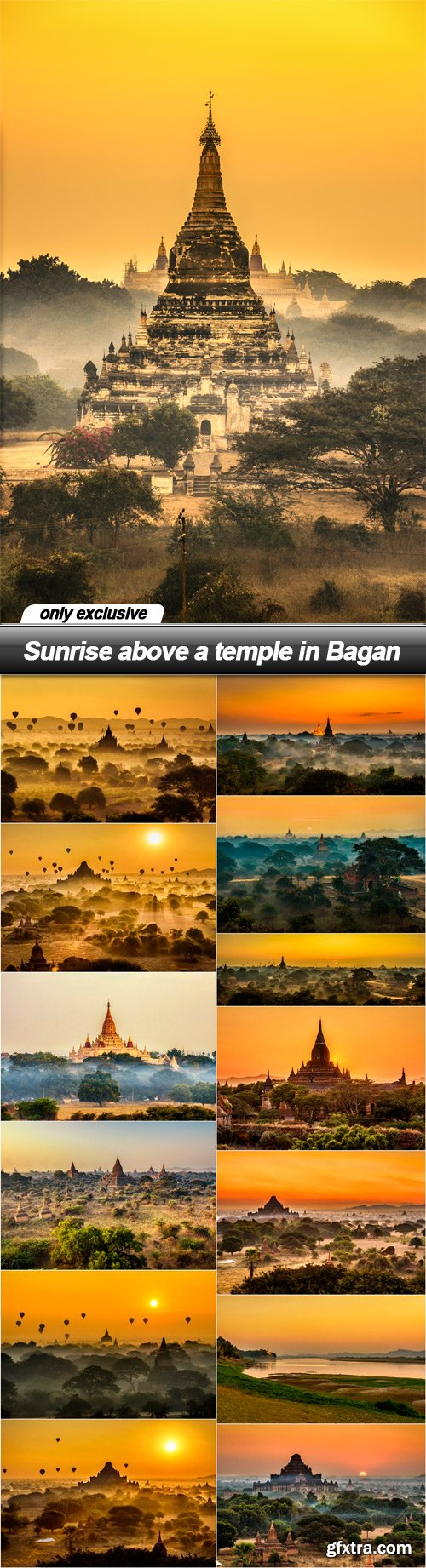 Sunrise above a temple in Bagan - 14 UHQ JPEG