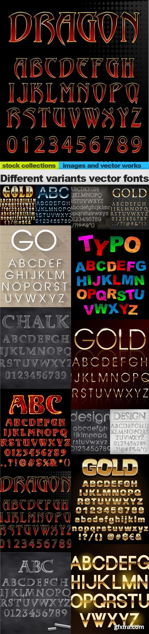 Different variants vector fonts, 15 x EPS