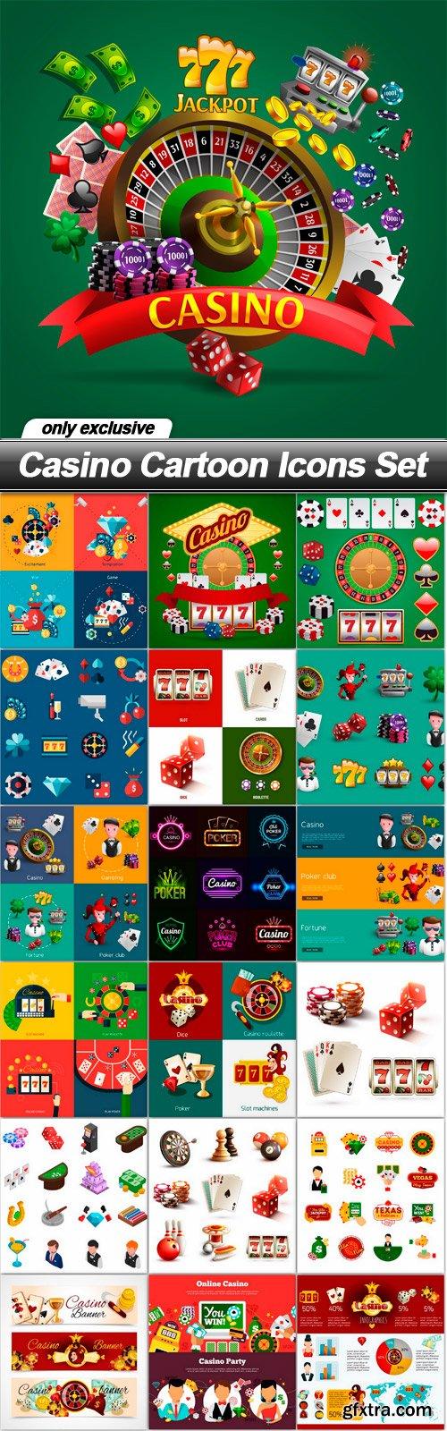 Casino Cartoon Icons Set - 19 EPS