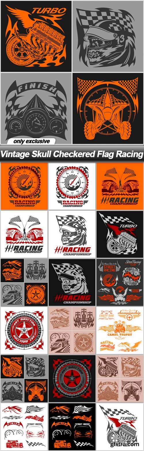 Vintage Skull Checkered Flag Racing - 18 EPS