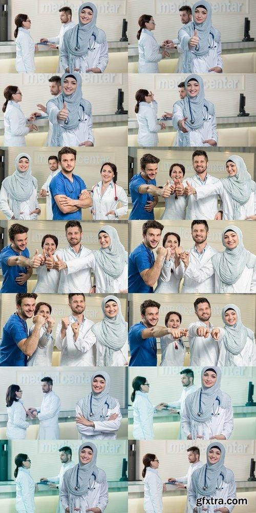 Closeup portrait of friendly, smiling confident muslim female doctor