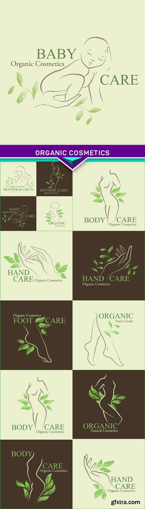 Organic cosmetics with a silhouette the hands, feet, children 5X EPS