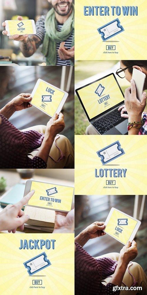 Gambling Jackpot Luck Enter to Win Lotto Ticket Concept