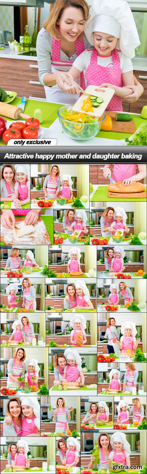 Attractive happy mother and daughter baking - 25 UHQ JPEG