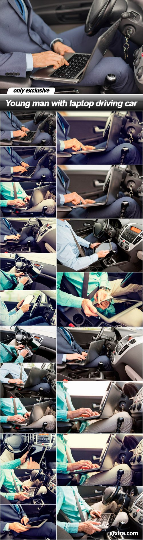 Young man with laptop driving car - 20 UHQ JPEG