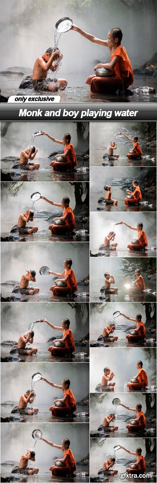 Monk and boy playing water - 14 UHQ JPEG