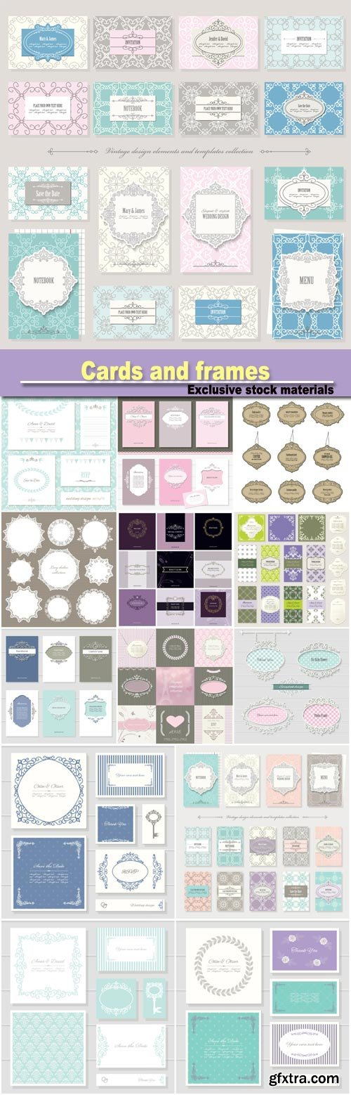 Templates, cards and frames in vintage style