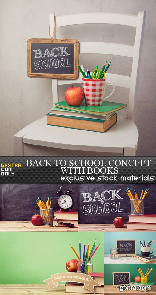 Back to School Concept with Books - 6 UHQ JPEG