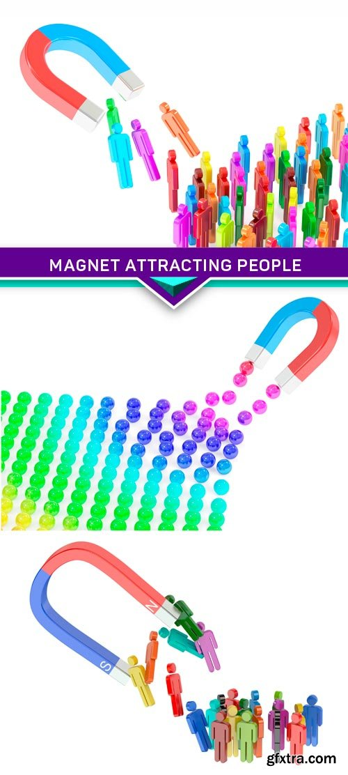 Magnet attracting people, business concept 3X JPEG