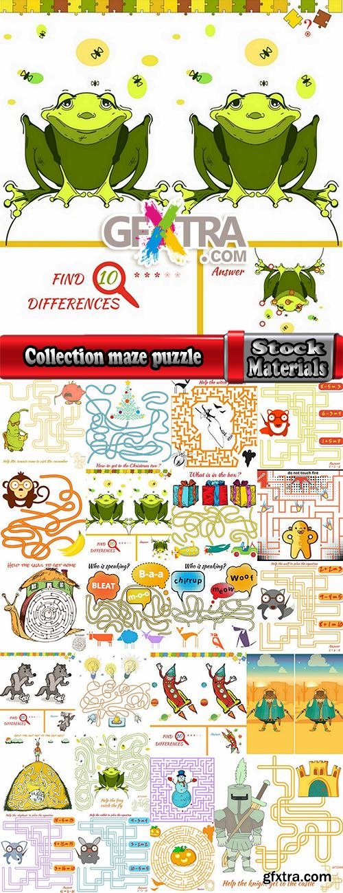 Collection maze puzzle baby animals illustration for children's books 25 EPS