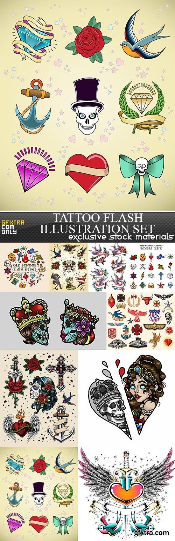 Tattoo Flash Illustration Set, 10 x EPS