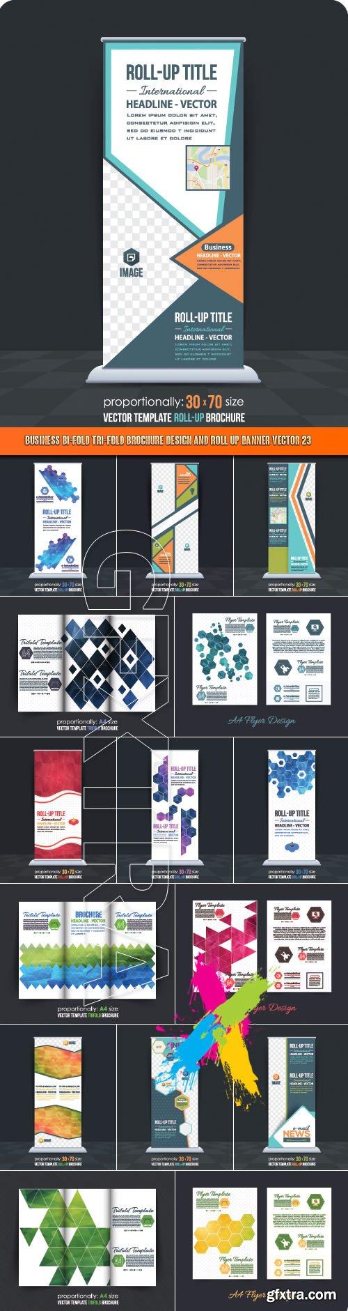 Business Bi-Fold Tri-Fold Brochure Design and Roll up banner vector 23
