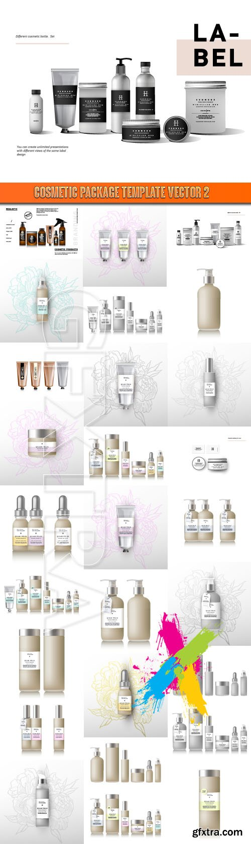 Cosmetic package template vector 2