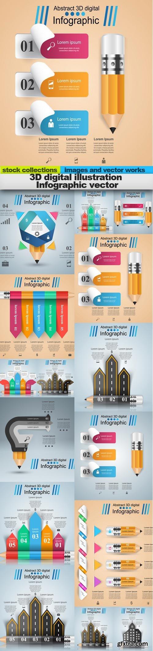 3D digital illustration Infographic vector, 15 x EPS