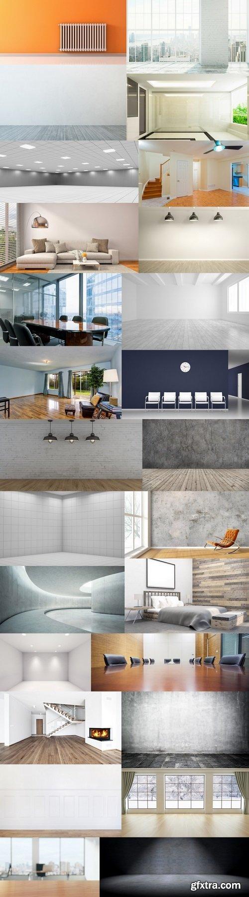 Empty room with panorama window and wooden floor, 3D Rendering
