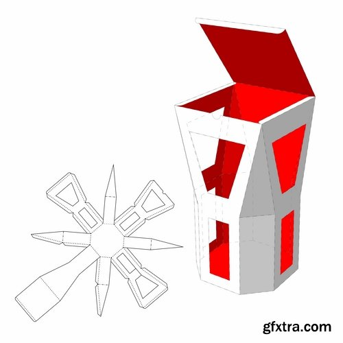 Collection of box to cut a figure of origami gift box cardboard container 2-25 EPS