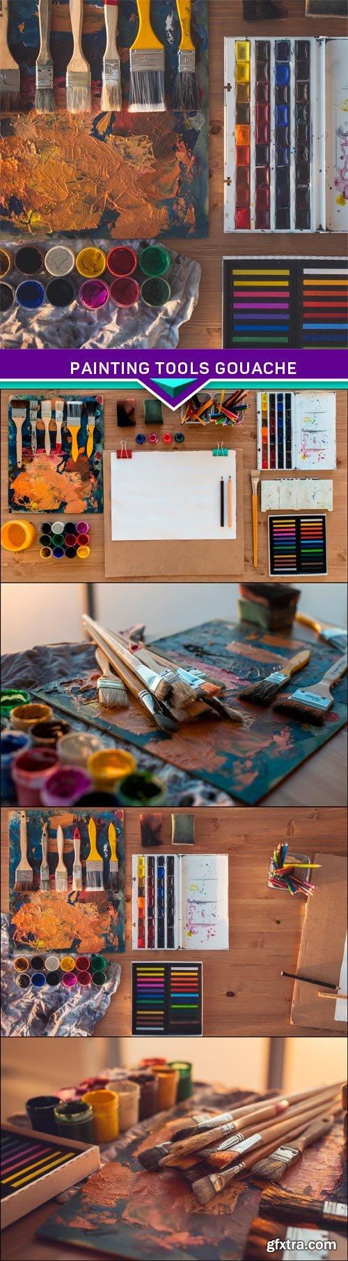 Painting tools gouache, watercolor and brush in art studio 5X JPEG
