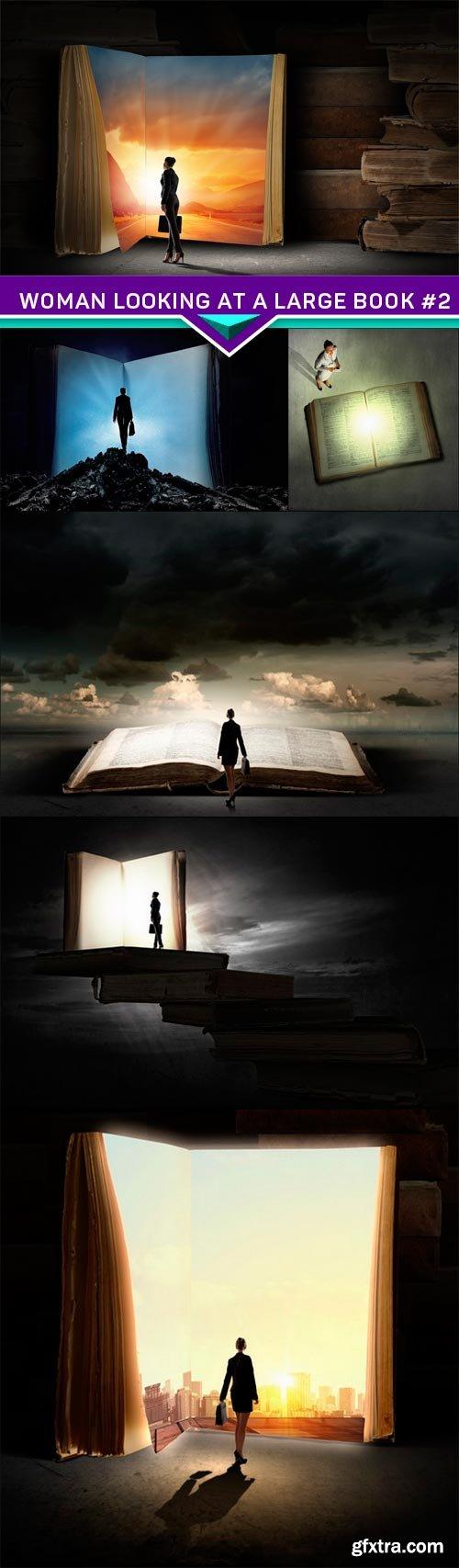 Woman looking at a large book #2 6X JPEG