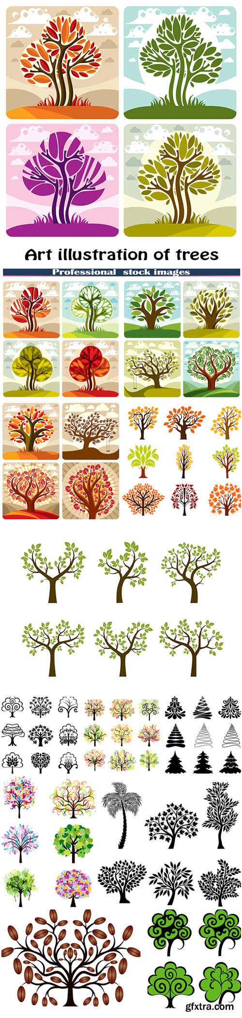 Art illustration of trees