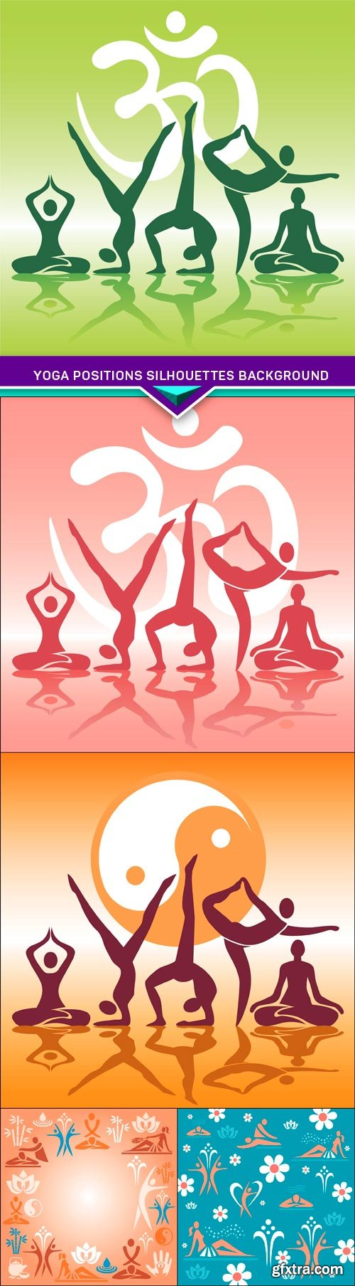 Yoga positions silhouettes background 5X EPS