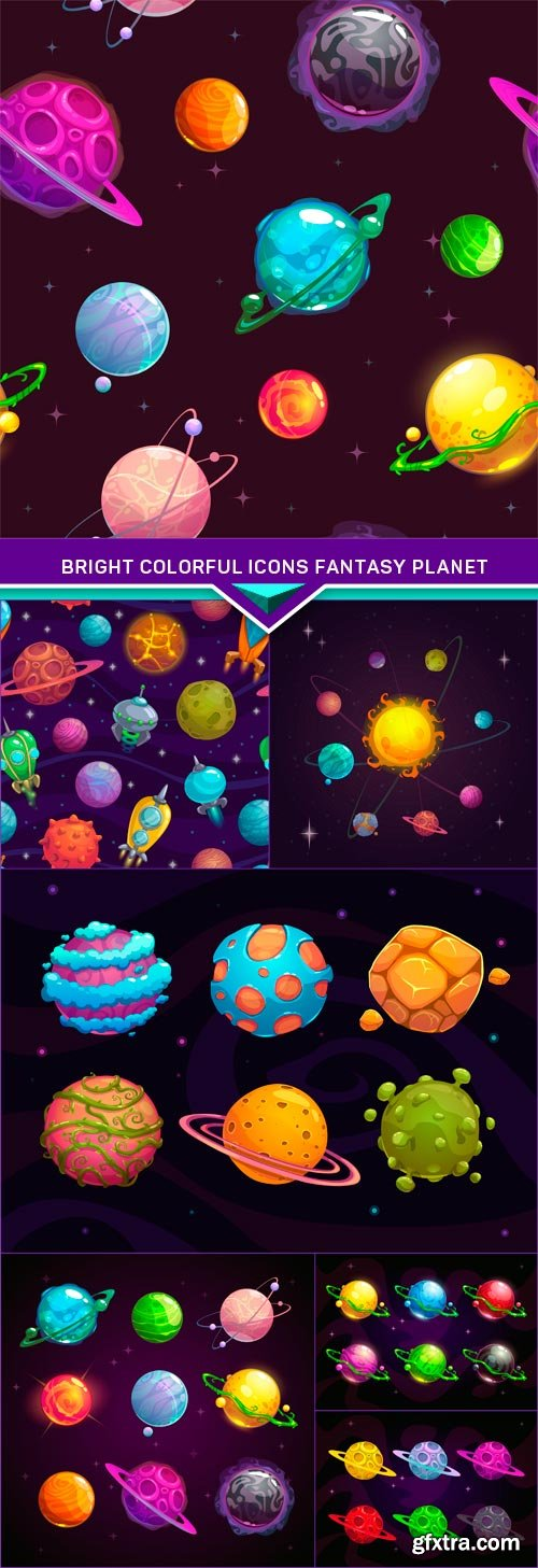 Bright colorful icons fantasy planet 7X EPS