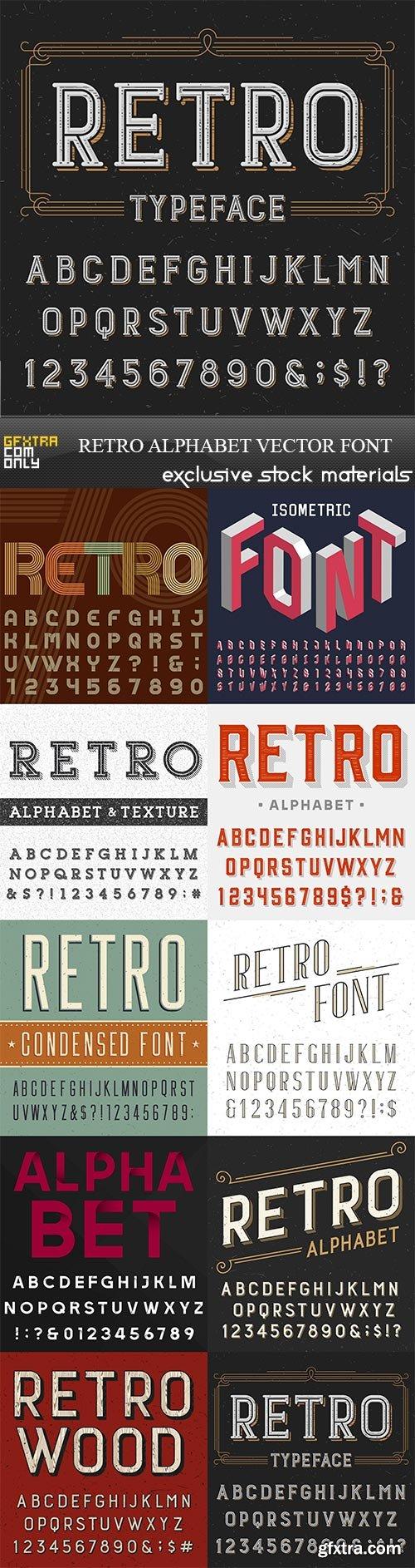 Retro alphabet vector font, 10 x EPS