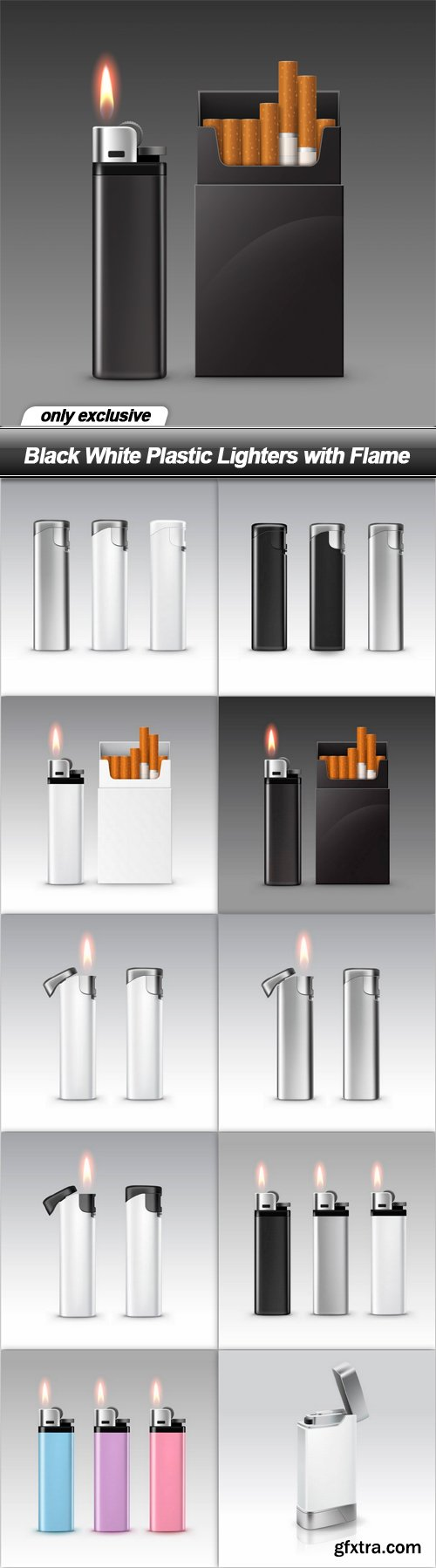 Black White Plastic Lighters with Flame - 10 EPS
