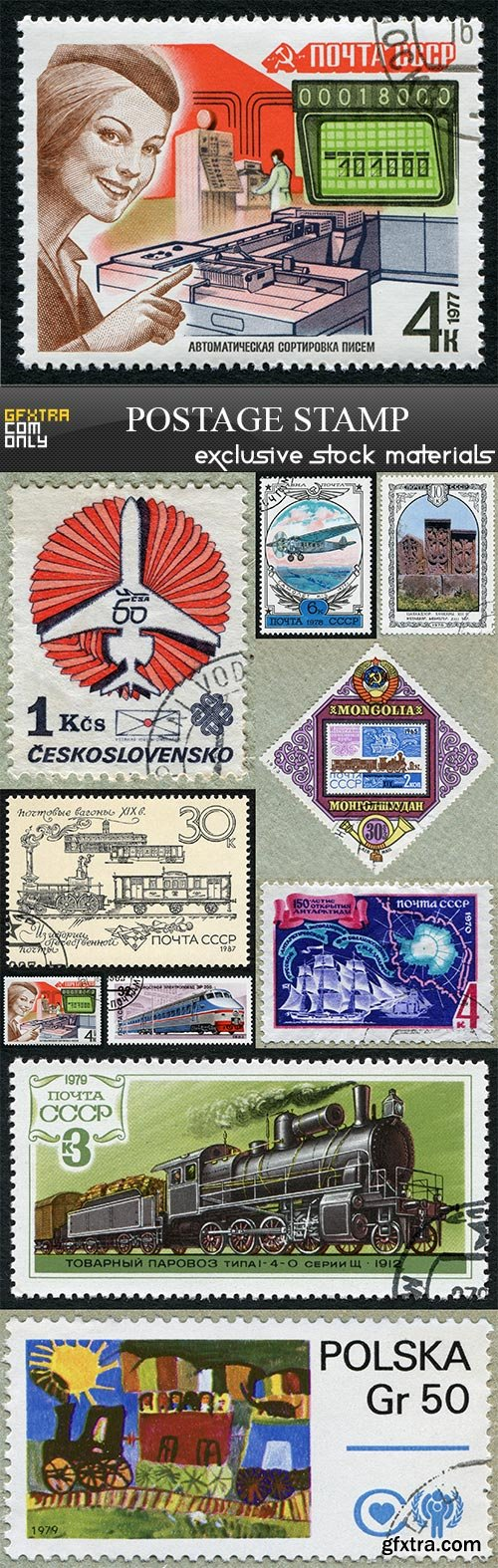 Postage stamp, 10 x UHQ JPEG