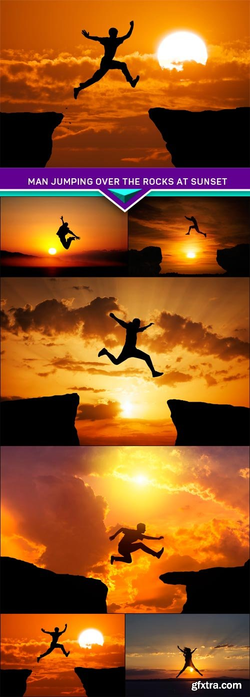 Man jumping over the rocks at sunset 6X JPEG