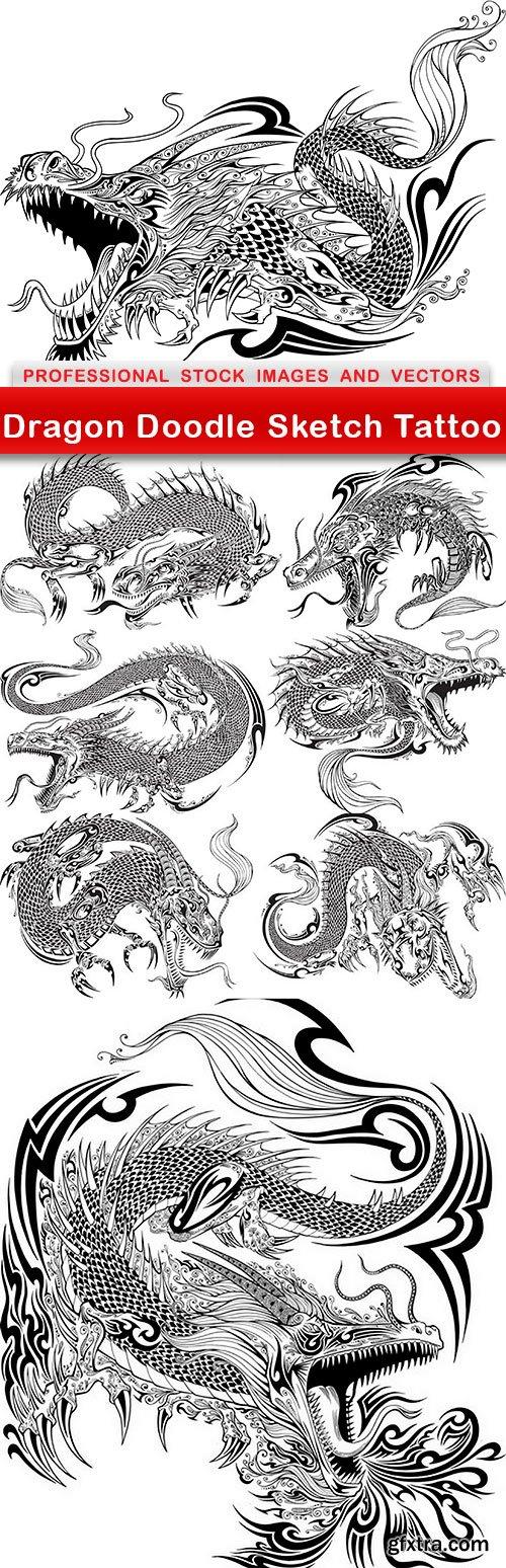 Dragon Doodle Sketch Tattoo - 8 EPS